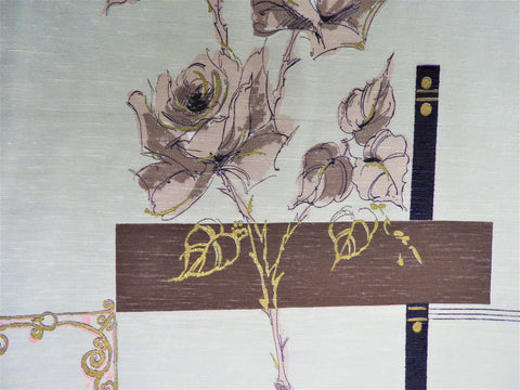 Vintage Fabric - Home Decorating - Gold & Roses - Fabric Remnant - HDB417