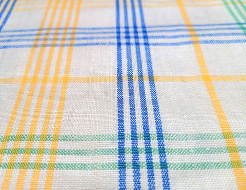 Vintage Fabric - Linen - Plaid - Cream - Linen - Fabric Remnant - LN336