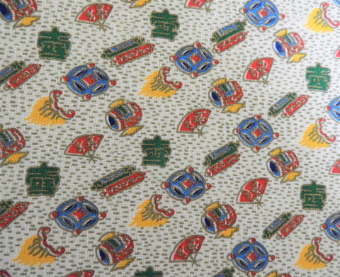 Vintage Fabric - Linen - Fire Flame - Metallic Gold - By the Yard - LN87