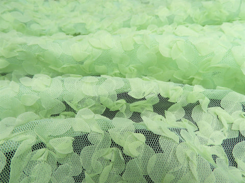 Vintage Fabric - Netting - Flower Petals - Green - By the Yard - NTG55