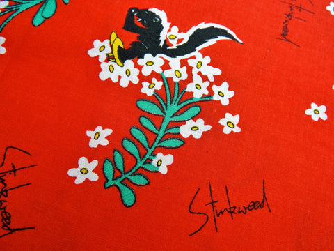 1980s Fabric - Cotton - Petal Pets - Stinkweed - Red - By the Yard - PTLP52