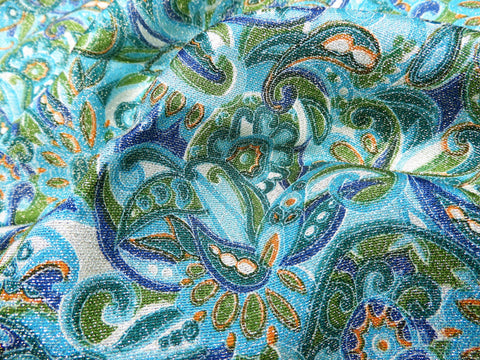 Vintage Fabric - Silk - Paisley - Metallic Silver, Blue, Green - By the Yard - SLK12