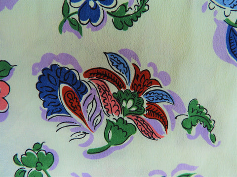 Vintage Fabric - Silk Crepe - Floral - Green - By the Yard - SLKC62