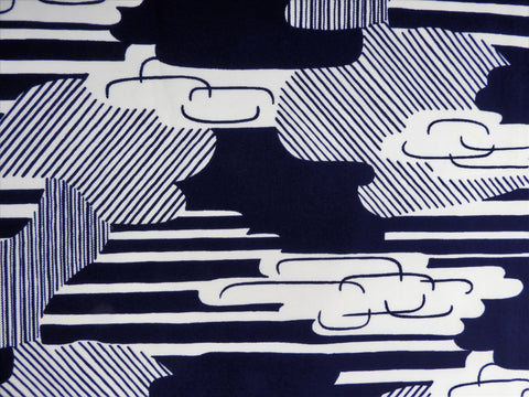 Retro Fabric - Polyester - Clouds - Fabric Remnant - SLRM62