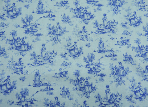 Vintage Fabric - Cotton - Toile - Blue - Fabric Remnant - SLRM52