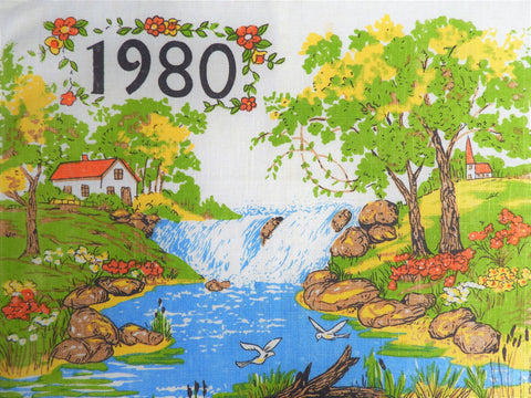 1980 Vintage Calendar Towel - Linen - Quaint Cottage - TWLC105
