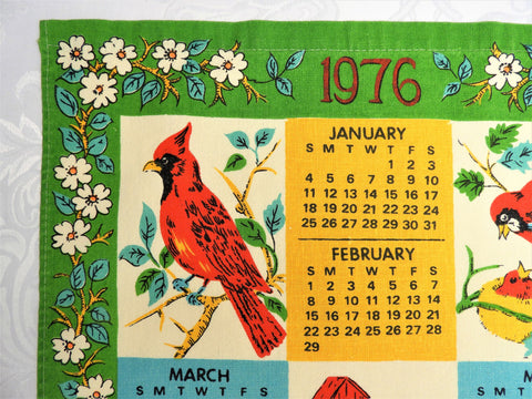 1976 Vintage Calendar Towel - Cotton - Birds - TWLC95