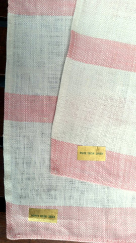Two - Vintage Pink Striped Tea Towel - Pure Irish Linen - Labels