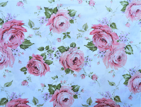 1940s 1950s Vintage Fabric - Cotton - Large Roses - Pink - By the Yard - VCL34