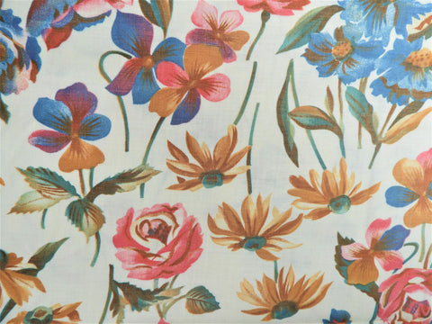 Vintage Fabric - Cotton - Sepia Viola Flower - By the Yard - VCL868