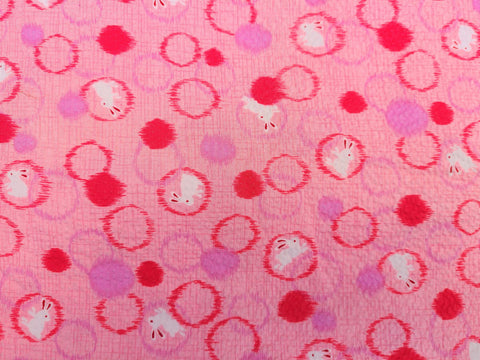 Vintage Fabric - Cotton - Seersucker - Bunny - Pink - Fabric Remnant - VCR350