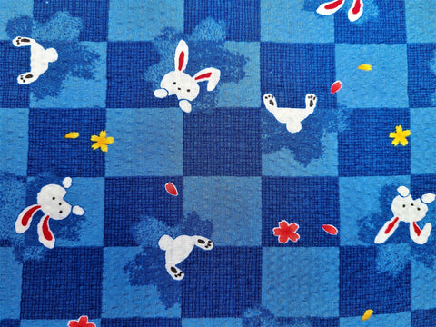 Vintage Fabric - Cotton - Seersucker - Rabbits - Blue - Fabric Remnant - VCR351