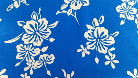 Hibiscus - Blue - Faille - Vintage Hawaiian Fabric - VCT20