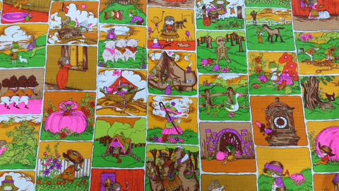 Nursery Rhyme Fairy Tale - Apricot - Vintage Hawaiian Barkcloth Fabric - VCT193