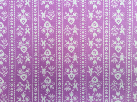 Vintage Fabric - Cotton - Bavarian Couple Garland - Purple - By the Yard - VCW490