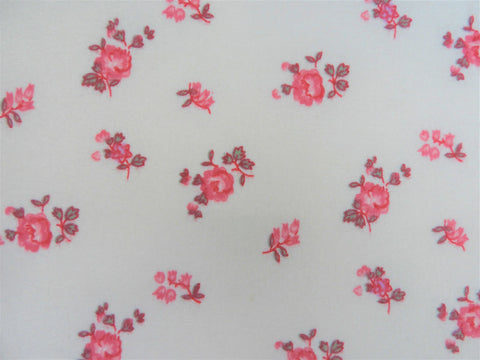 Vintage Fabric - Cotton - Flannel - Floral - Pink - Fabric Remnant - VFL125
