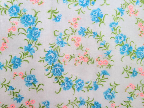 Vintage Fabric - Cotton - Flannel - Floral - Blue, Pink - Fabric Remnant - VFL524