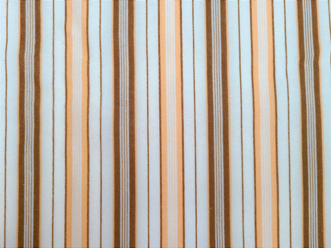 Vintage Fabric - Cotton - Flannel - Striped - Brown, White - Fabric Remnant - VFL523