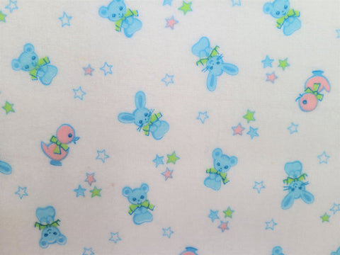 Vintage Fabric - Cotton - Flannel - Baby Duck Bear Rabbit - Fabric Remnant - VFL525