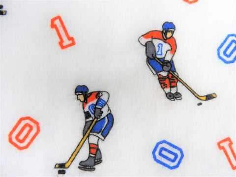 Vintage Fabric - Cotton - Flannel - Hockey Player - By the Yard - VFL575