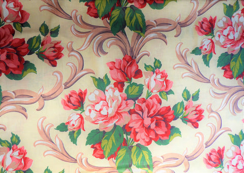 Vintage Fabric - Cotton - Baroque Rose - Fabric Remnant - VCL842