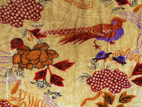 Vintage Fabric - Silk Velvet - Pheasant - By the Half Yard - VLT17