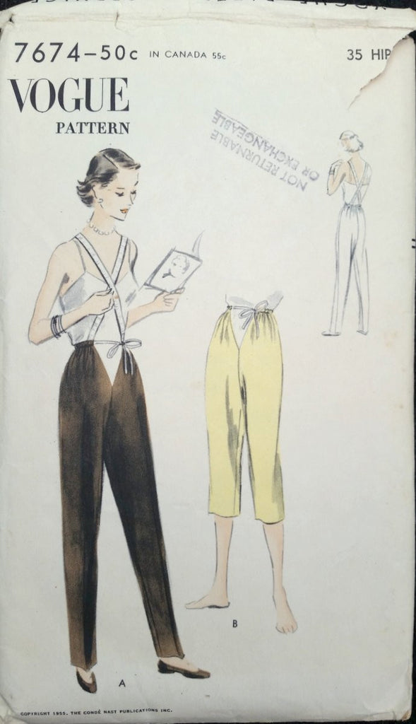 1955 Vogue Vintage Sewing Pattern 7674 Maternity Pant