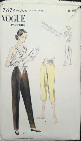 1955 Vogue Vintage Sewing Pattern 7674 - Maternity Pant