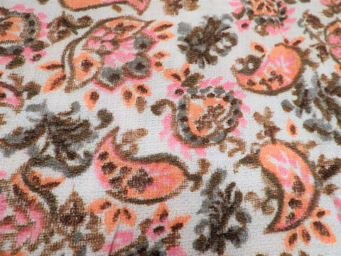 1960s 1970s Retro Fabric - Cotton - Barkcloth Weave - Paisley - Pink, Apricot - Fabric Remnant - 6CB45