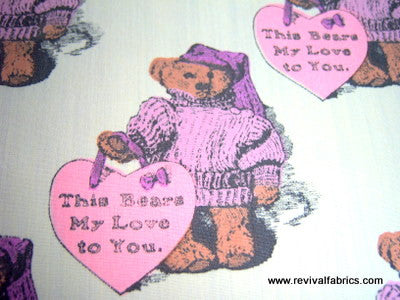 This Bears My Love to You - 1973 Retro Cotton Fabric - SLR4033