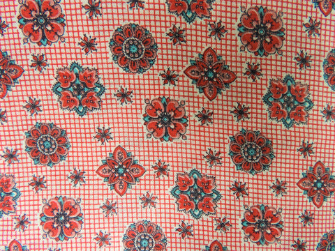 Vintage Fabric - Cotton - Printed Tiny Check Foulard - Red - Fabric Remnant - VCG129