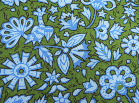 Vintage Fabric - Cotton - Indian Head - Bird - Green, Blue - Fabric Remnant - VCW266