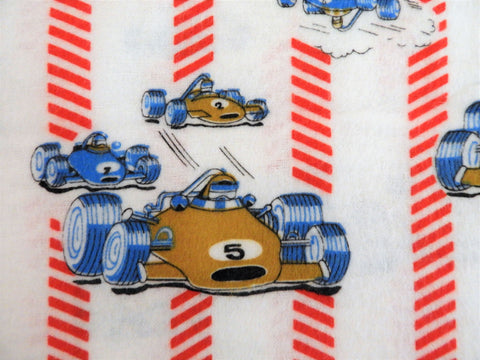 Vintage Fabric - Cotton - Flannel - Race Car - Red, Blue - By the Yard - VFL400