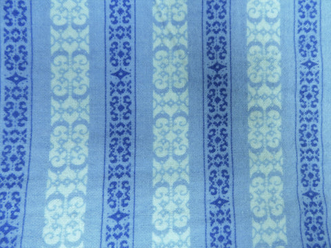 Vintage Fabric - Cotton - Flannel - Lace Ribbon Stripes - Blue - By the Yard - VFL440