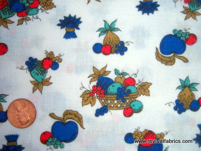 1940s Vintage Fabric - Cotton - Flannelette Flannel - Fruit - Blue - Fabric Remnant - SLV89