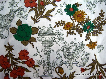 Cornucopia - Cotton - Vintage Novelty Fabric - VCW427