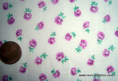 1940s Vintage Fabric - Organdy - Small Roses - Purple - Fabric Remnant - SLV33
