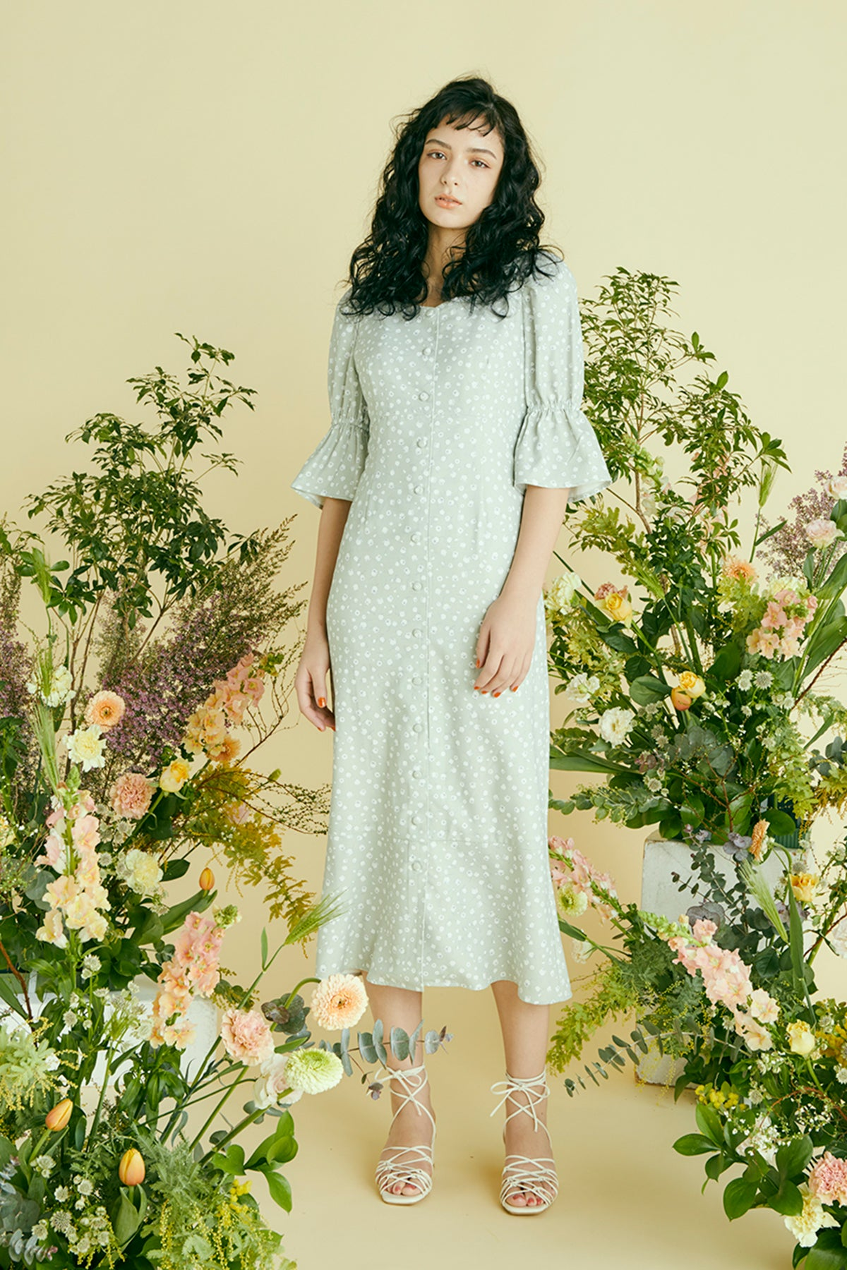 Floral lace-up dress muguet /  2 colours