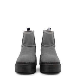 Gray Leather Slip on Fastening Ankle Boots