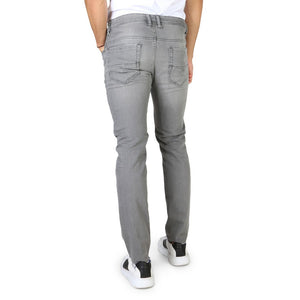 Grey button fly closure jeans with logo details