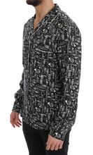 Load image into Gallery viewer, Black Silk JAZZ Motive Print Casual Shirt