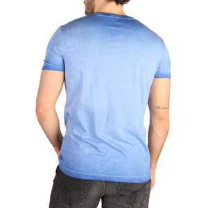 Blue Cotton T-Shirt with Print Pattern