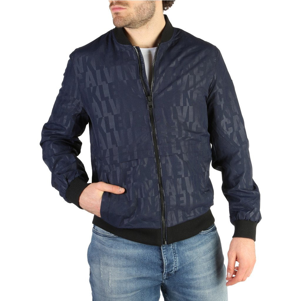 Blue Zip Fastening Print Pattern Jacket