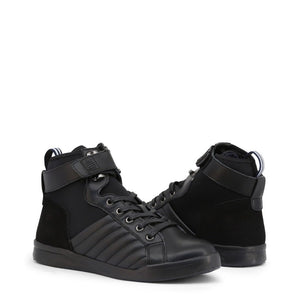 Black Leather High Top Sneakers