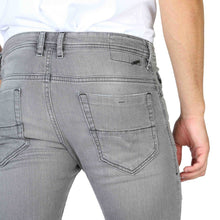 Load image into Gallery viewer, Grey button fly closure jeans with logo details