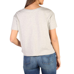 Gray Cotton Round Neckline T-Shirt with Print Pattern