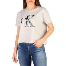 Load image into Gallery viewer, Gray Cotton Round Neckline T-Shirt with Print Pattern