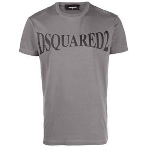 DSQUARED2 BLACK ARCHED LOGO TEE IN DARK GREY