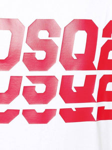 DSQUARED2 DSQ2 REPEAT RED LOGO TEE IN WHITE