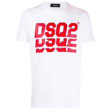 Load image into Gallery viewer, DSQUARED2 DSQ2 REPEAT RED LOGO TEE IN WHITE